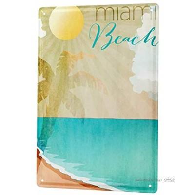 LEotiE SINCE 2004 Blechschild Dekoschild Küche Garage Welt Reise Miami Beach Wand Deko Schild 20X30 cm