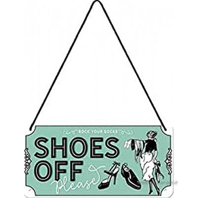 Nostalgic-Art 28044 Retro Hängeschild Achtung – Shoes Off – Türschild als Geschenk-Idee aus Metall Vintage-Design zur Dekoration