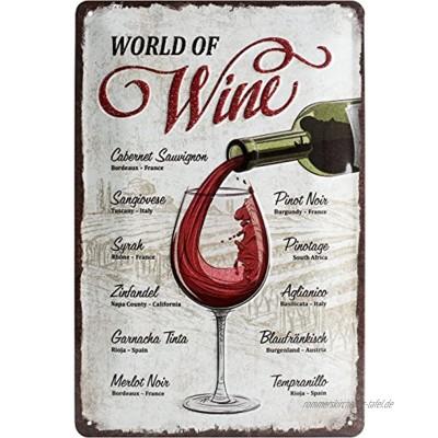 Nostalgic-Art Retro Blechschild Open Bar – World of Wine – Geschenk-Idee für Wein-Liebhaber aus Metall Vintage-Design zur Dekoration 20 x 30 cm