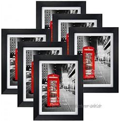 Brand Eono Schwarze Bilderrahmen 13x18 CM mit Glas und weißem Passepartout wandhängend oder freistehend 6er Set