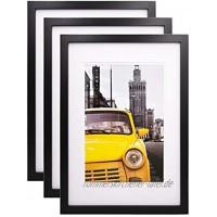 Egofine A3 Bilderrahmen schwarz 3 Stück besteht aus Massivholz und Glas-Frontscheibe für Wandmontage mit Passepartout 21x30 cm