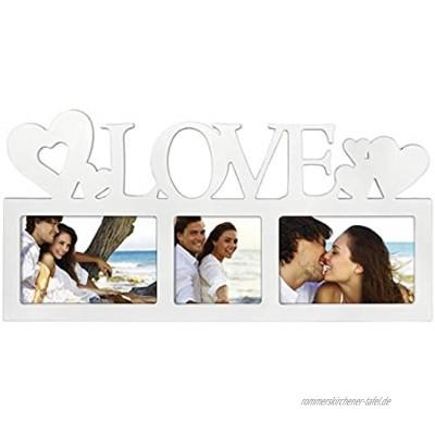 """Hama Collage Bilderrahmen für Fotocollagen """"Montreal Love"""" Fotorahmen mit Love-Schriftzug und Herzen für 3 Fotos Kunststoff-Rahmen Echtglas Fotogalerie weiß"""