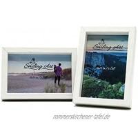 Smiling Art Bilderrahmen Fotorahmen 2er Set aus MDF Holz mit Glasscheibe Querformat und Hochformat zum Aufhängen und Aufstellen Weiß 2 * 10x15 cm