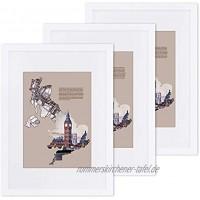 SONGMICS Bilderrahmen 3er-Set für DIN A3 29,7 x 42 cm ohne Passepartout für A4 21 x 29,7 cm mit Passepartout Fotorahmen Glasscheibe Rahmenbreite 2 cm MDF weiß RPF03WT