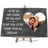 wandmotiv24 Schieferplatte mit Staffelei personalisiert mit Foto Text 30x20cm BxH personalisierte Geschenke zum Valentinstag Hochzeit Jahrestag Geschenkidee für Ihn und Sie M0017