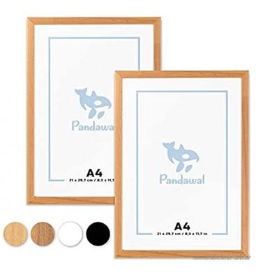 Pandawal® Bilderrahmen A4 Holz Natur 2er-Set für Poster Bilder und Fotos 21x30cm Rahmen mit Plexi-Glas DIN A4 21 x 29,7 cm